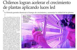 Chilenos logran acelerar el crecimiento de plantas aplicando luces led
